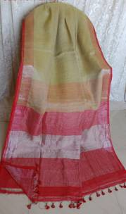 Beige and pink linen sarees with zari border