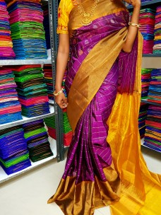Dark purple and yellow uppada Sarees with butti work