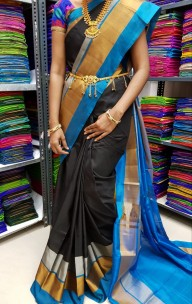 Black and light blue uppada Plain sarees