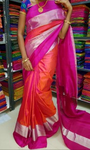 Red mix pink uppada plain sarees