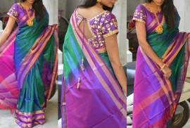 Dark green and dark purple uppada plain sarees