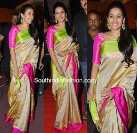 Cream with dark pink and green uppada tissue Sarees