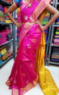 Pink uppada sarees with butti