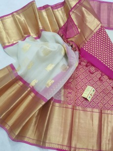 Cream white and pink pure kanchi kora silk sarees