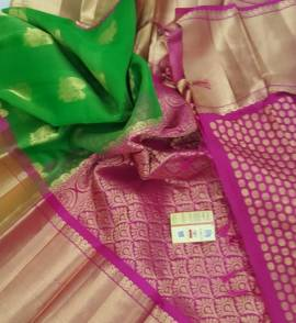 Green with pink pure kanchi kora silk sarees