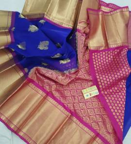 Royal blue and pink pure kanchi kora silk sarees