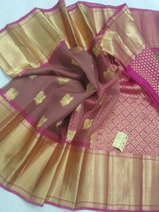 Brown and pink pure kanchi kora silk sarees