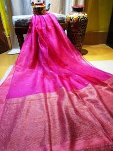 Dark pink pure matka muslin jamdani sarees