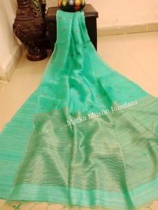 Light Turquoise green pure matka muslin jamdani sarees