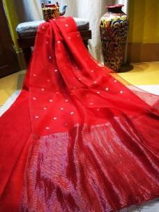 Red pure matka muslin jamdani sarees