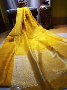 Golden yellow pure matka muslin jamdani sarees