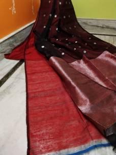Dark maroon red pure matka muslin jamdani sarees