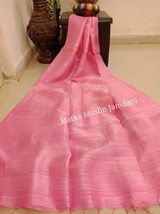 Peach pure matka muslin jamdani sarees