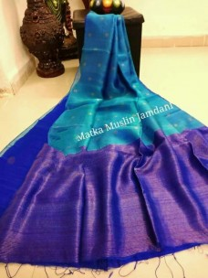 Peacock blue pure matka muslin jamdani sarees