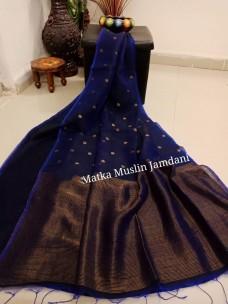 Dark navy blue pure matka muslin jamdani sarees