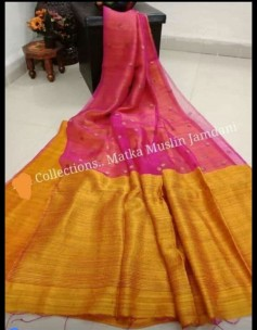 Pink pure matka muslin jamdani sarees