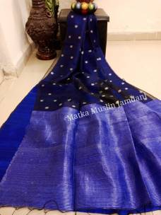 Navy blue pure matka muslin jamdani sarees