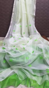 White with green pure matka by resham sarees