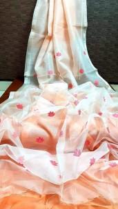 White with light orange pure matka by resham sarees