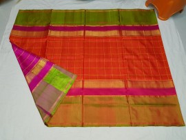 Orange and dark pink uppada Anushka model sarees