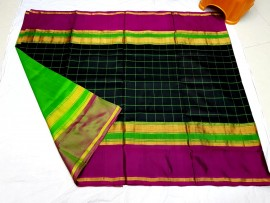 Black with dark magenta uppada checks silks sarees