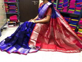 Dark blue and red kuppadam pattu sarees