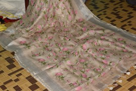 Beige 100 count linen embroidered sarees