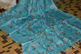 Light blue 100 count linen embroidered sarees