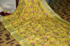 Yellow 100 count linen embroidered sarees