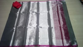 Silver uppada tissue cotton sarees with pink border
