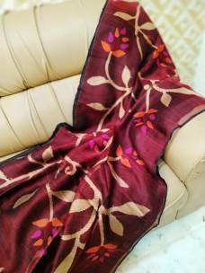 Maroon red matka muslin jamdani sarees