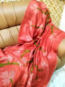 Light red pure matka muslin jamdani sarees