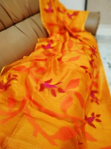 Orange pure matka muslin jamdani sarees