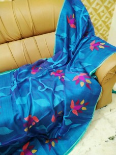 Light blue pure matka muslin jamdani sarees