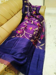 Violet and blue pure matka muslin jamdani sarees