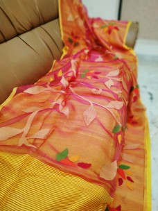 Peach and yellow pure matka muslin jamdani sarees