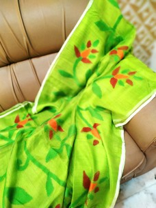 Apple green pure matka muslin jamdani sarees