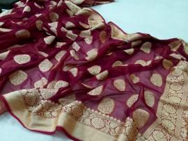 Burgundy banarasi semi pure silk Georgette sarees