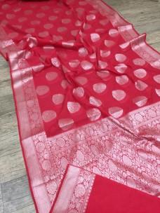 Reddish pink banarasi semi pure silk Georgette sarees