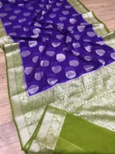 Dark purple and olive green banarasi semi pure silk Georgette sarees