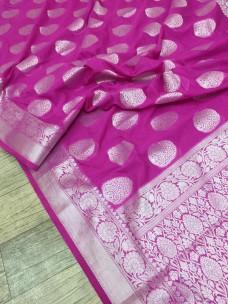 Magenta banarasi semi pure silk Georgette sarees