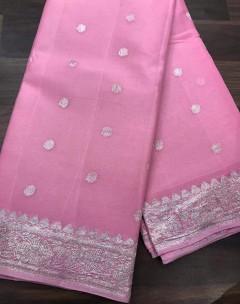 Light pink pure chiffon banarasi sarees
