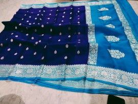 Royal Blue and light blue pure chiffon banarasi sarees