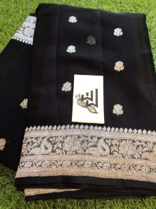 Black pure chiffon banarasi sarees