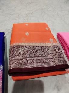 Orange pure chiffon banarasi sarees