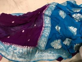 Dark purple and peacock blue pure chiffon banarasi sarees