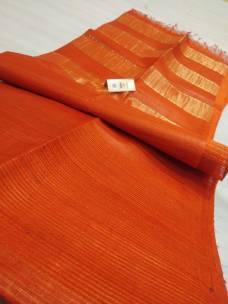 Orange pure Tussar gicha stripes sarees