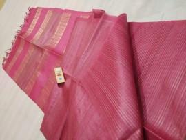 Pink pure Tussar gicha stripes sarees