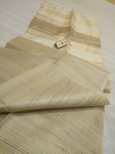 Cream pure Tussar gicha stripes sarees