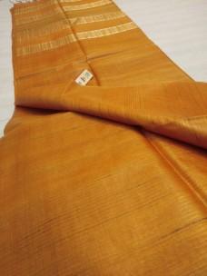 Mustard gold pure Tussar gicha stripes sarees